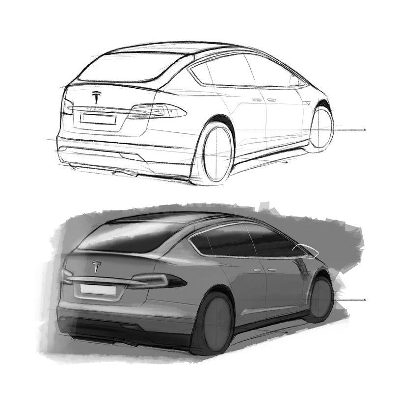2016 Tesla Model C City Car: Design Sketches