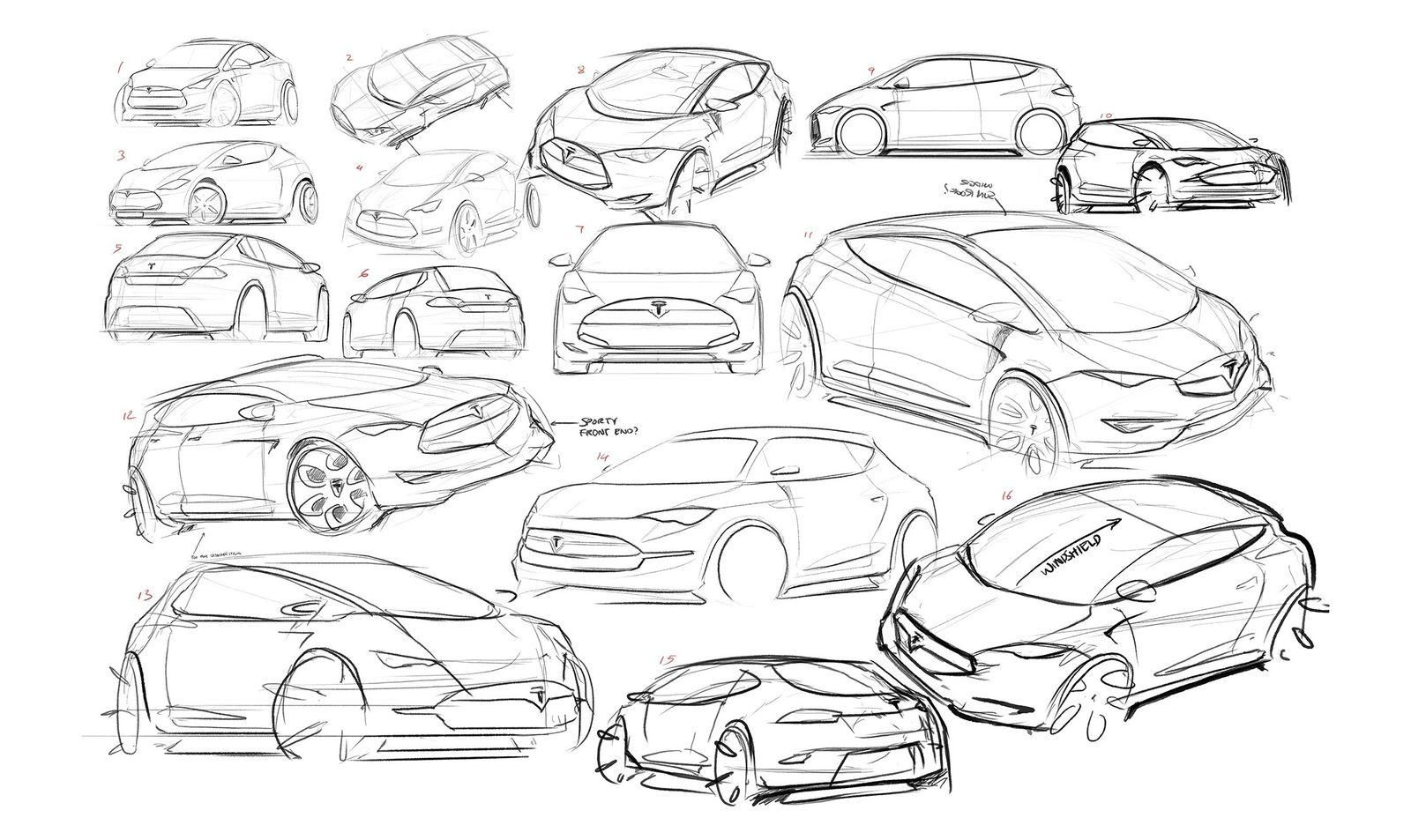 2016 tesla model c city car  design sketches