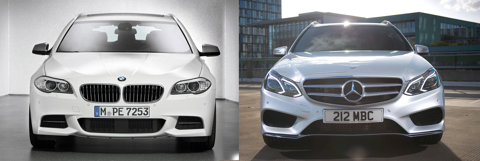 mercedes e class estate vs bmw 5 series touring large. Black Bedroom Furniture Sets. Home Design Ideas