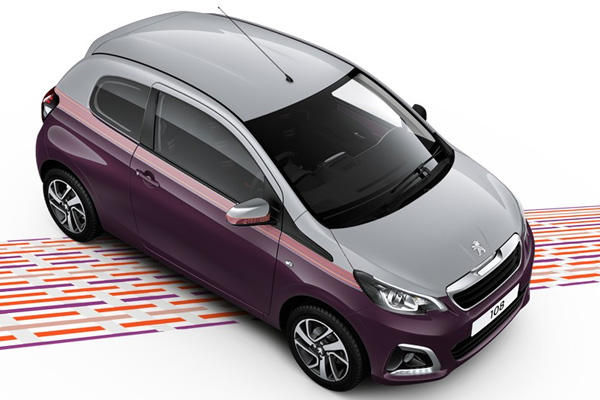 peugeot 108 purple berry and zircon grey