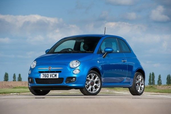Fiat 500 front angle blue