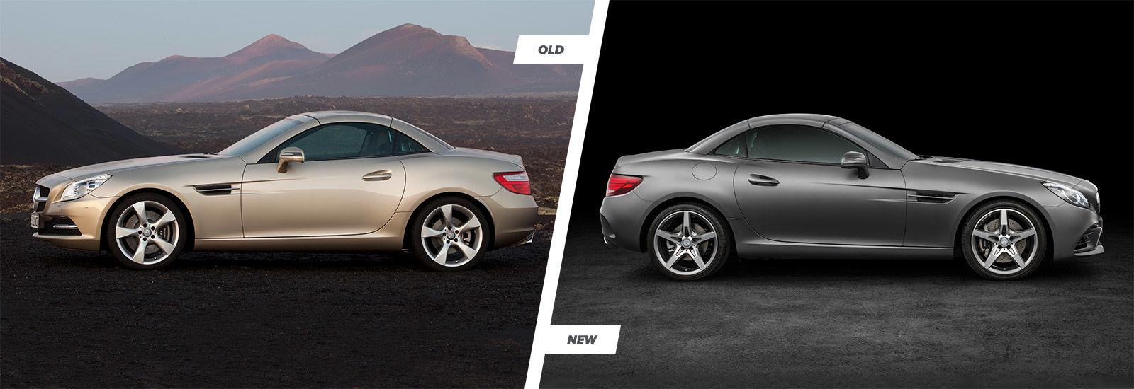 mercedes slc vs slk facelift comparison carwow. Black Bedroom Furniture Sets. Home Design Ideas
