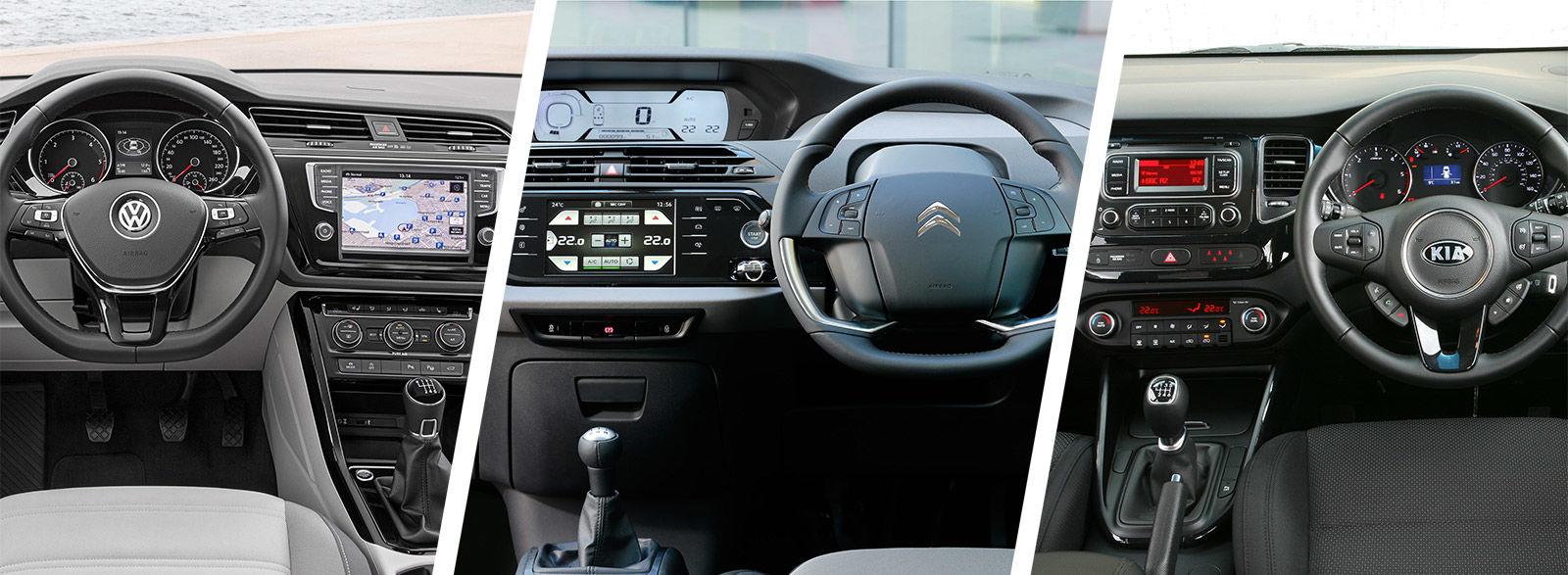VW Touran, Citroen Grand C4 Picasso & Kia Carens video test   carwow