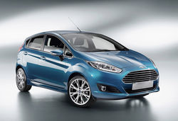 Ford fiesta new blue front three quarters flipped